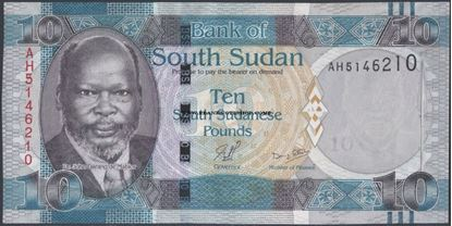 Picture of South Sudan,P07a,B103a,10 Pounds,2011