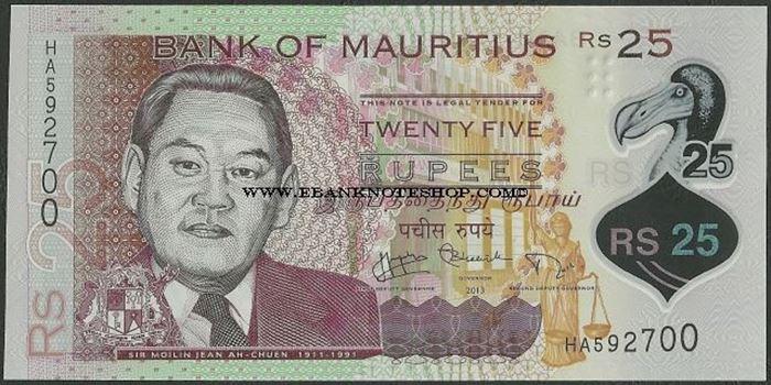 Picture of Mauritius,P64,B430,25 Rupees,2013