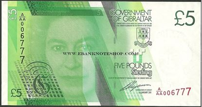 Picture of Gibraltar,P35,B130,5 Pounds,2011