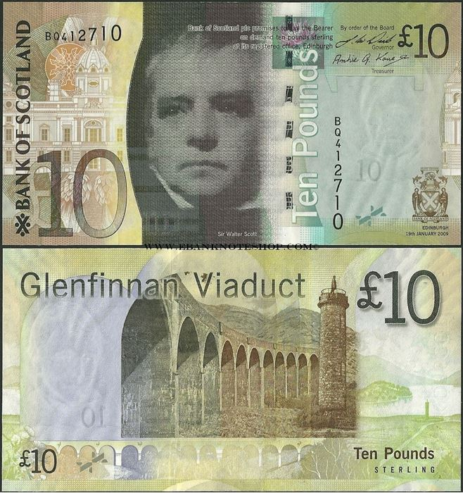 Picture of Scotland,P125,10 Pounds,2009,BoS