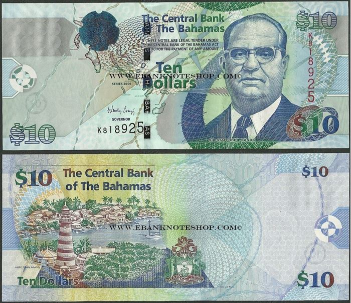 Picture of Bahamas,P73A,B340a,10 Dollars,2009