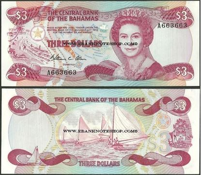 Picture of Bahamas,P44,B309,3 Dollars,1984