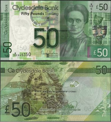 Picture of Scotland,P229L,50 Pounds,2009,Clydesdale