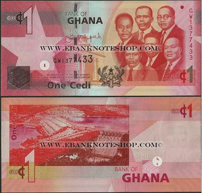 Picture of Ghana,P37g, B145g,1 Cedi,2015