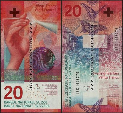 Picture of Switzerland,P76,B356,20 Francs,2017
