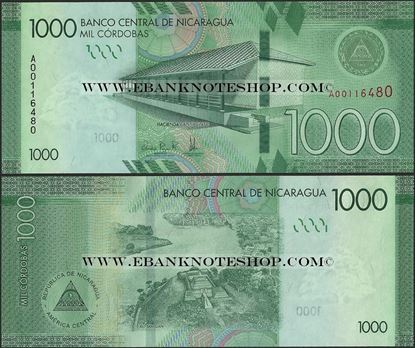 Picture of Nicaragua,P215,B513,1000 Cordobas,2014 (In 2017)