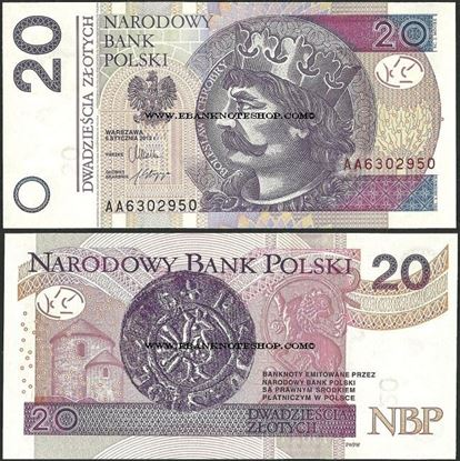Picture of Poland,P184a,B860a,20 Zloty,2012(In 2014)
