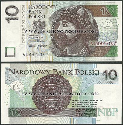 Picture of Poland,P183a,B859a,10 Zloty,2012(In 2014)