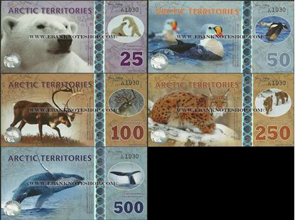 Picture of Arctic Territories,5 Note SET,2017, 25 Polar Dollar - 500 Polar Dollar