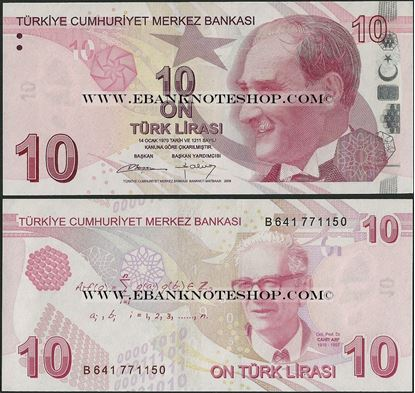 Picture of Turkey,P223?,B301b,10 Lira