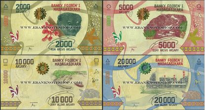 Picture of Madagascar,4 NOTE SET,B336-B339,2k to 20k Ariary,2017