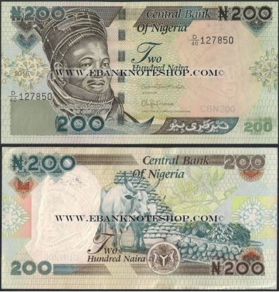 Picture of Nigeria,P29,B227v,200 Naira,2016
