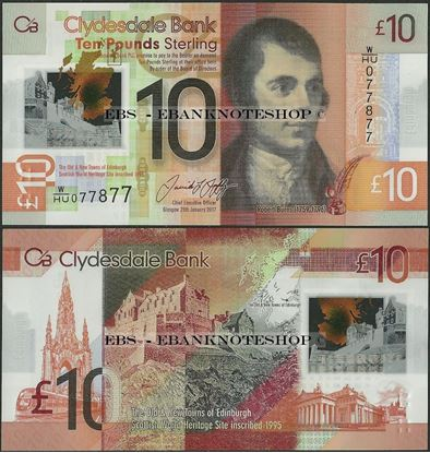 Picture of Scotland,PNL,10 Pounds,2017,Clydesdale,Polymer