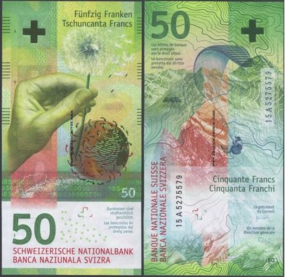 Picture of Switzerland,P77,B357,50 Francs,2015