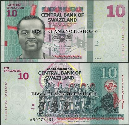 Picture of Swaziland,P41,B236,10 Emalangeni,2015,Comm