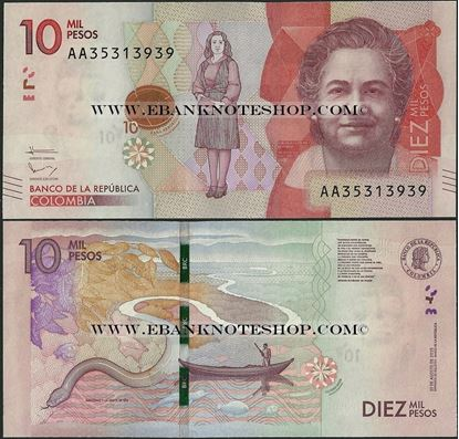 Picture of Colombia,P460a,10 000 Pesos,2015,AA