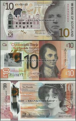 Picture of Scotland, ALL 3 Banks,10 Pounds,2017,Polymer