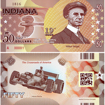 Picture of US State Dollar,19th State, Indiana,50 State Dollars
