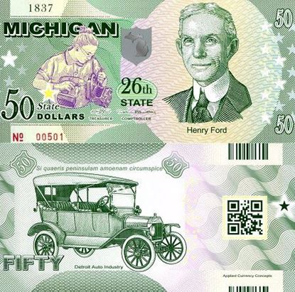 Picture of US State Dollar,26th State, Michigan,50 State Dollars