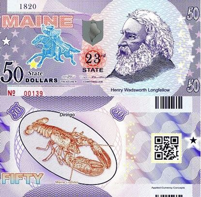 Picture of US State Dollar,23rd State, Maine,50 State Dollars