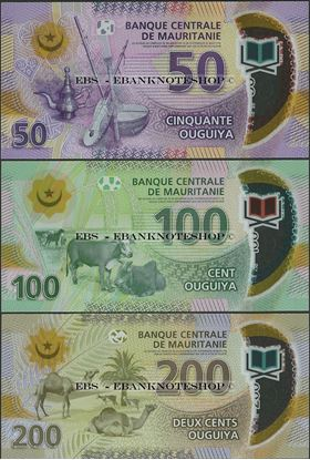 Picture of Mauritania,3 NOTE SET ,350 New Ouguiya,2017