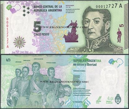 Picture of Argentina,P359,B415,5 Pesos,2015