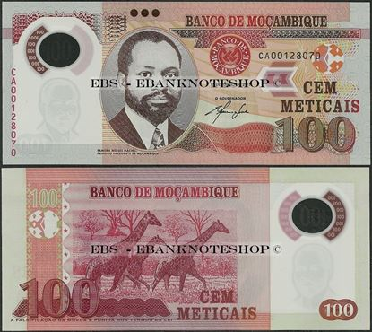 Picture of Mozambique,P151a,B236a,100 Meticais,2011