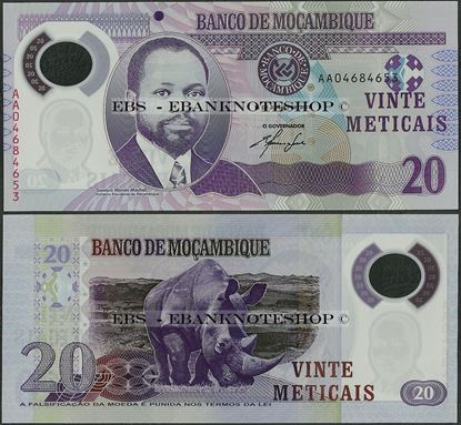 Picture of Mozambique,P149a,B234a,20 Meticais,2011