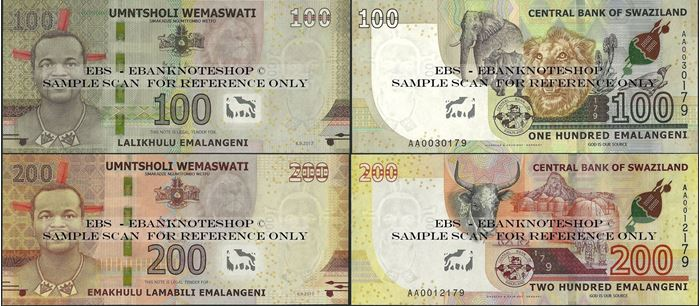 Picture of Swaziland,2 NOTE SET,B237/B238,100/200 Emalengeni,2018