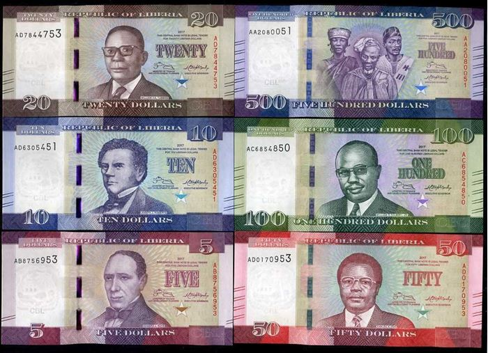 Picture of Liberia,6 NOTE SET,P31-36,B311-316,685 Dollars,2016/17