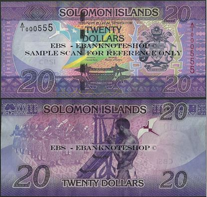 Picture of Solomon Islands,P34,B223,20 Dollars,2017,3 serial