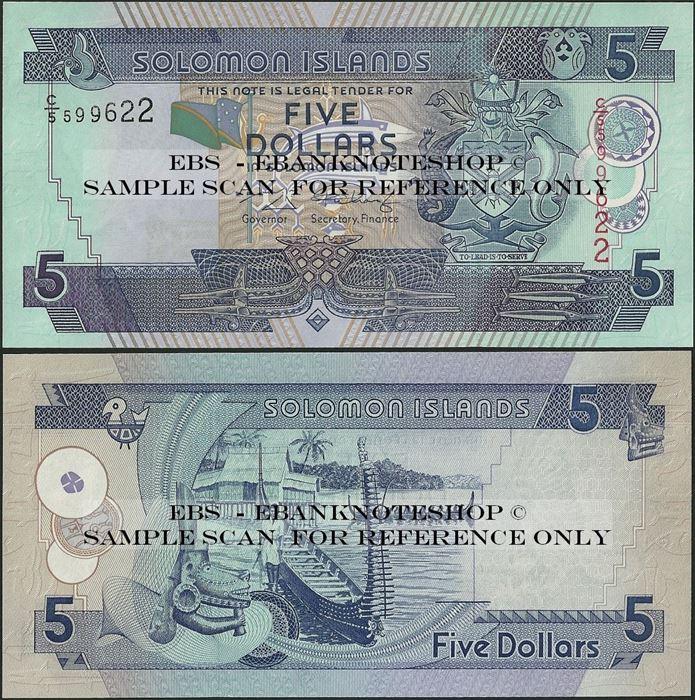 Picture of Solomon Islands,P26,B216b,5 Dollars,2004,C/5
