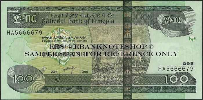 Picture of Ethiopia,P52,B334g,100 Birr,2015