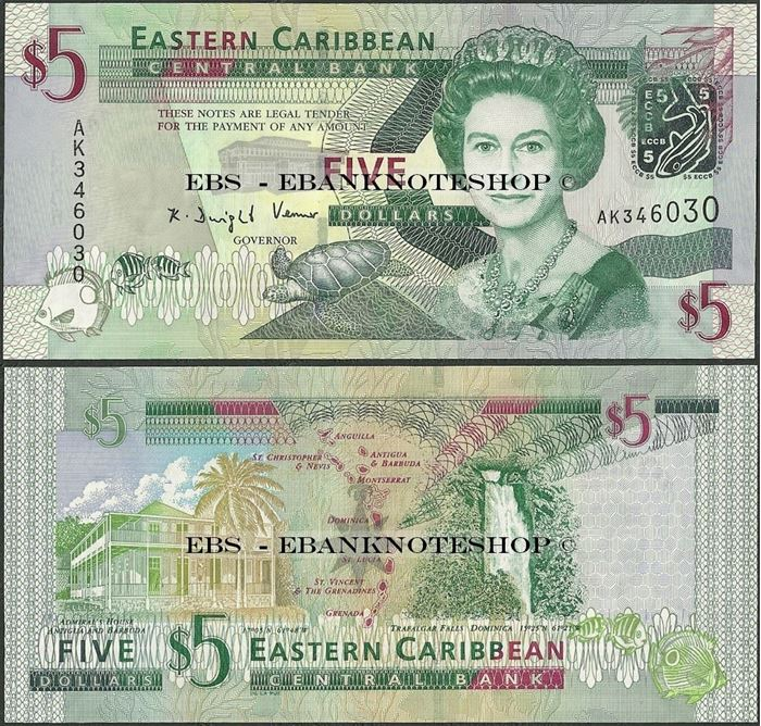 Picture of East Caribbean States,P47,B231,5 Dollars,2008
