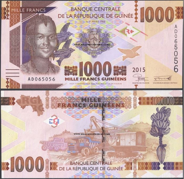 Picture of Guinea,P48,B340a,1000 Francs,2015