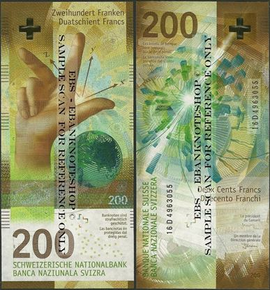 Picture of Switzerland,P79,B359,200 Francs,2018