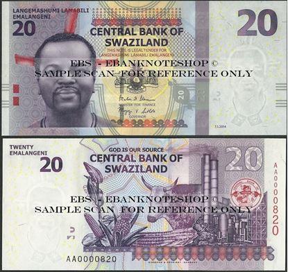 Picture of Swaziland,P37b,B232b,20 Emalangeni,2014