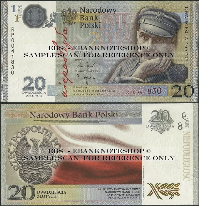 Picture of Poland,PNew,BNP822,20 Zloty,2018,Comm