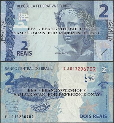 Picture of Brazil,P252,B874e,2 Reais,2010,Sg 32