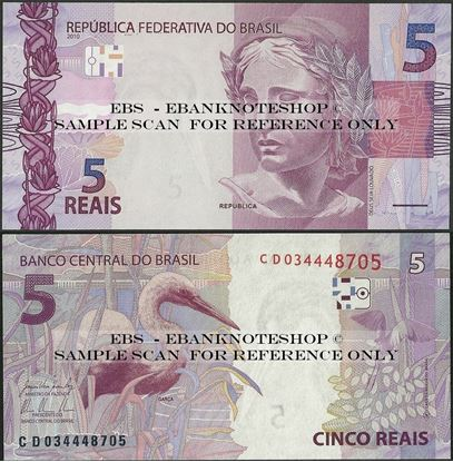 Picture of Brazil,P253,B875c,5 Reais,2010,Sg 31