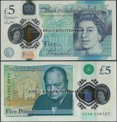 Picture of England,P394,B203,5 Pounds,2016,Polymer,AA prefix