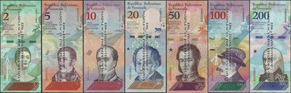 Picture of Venezuela,7 note set,2 to 200 Bolívar Soberano, 2018
