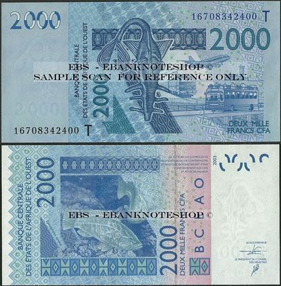 Picture of WAS T Togo,P816T, B122Tp,2000 Francs,2016