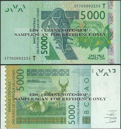 Picture of WAS T Togo,P817T, B123Tq,5000 Francs,2017