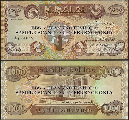 Picture of Iraq,B360,1000 Dinars,2018