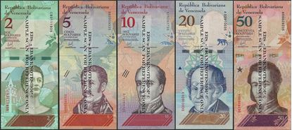 Picture of Venezuela,5 note set,2 to 50 Bolívar Soberano, 2018