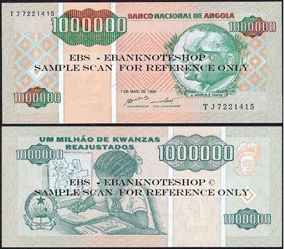 Picture of Angola,P141, B532,1000 000 Kwanza Reajustados,1995