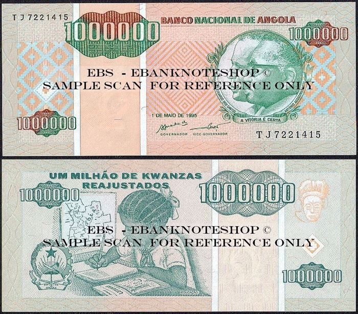 Picture of Angola,P141, B532,1000 000 Kwanza Reajustados,1995