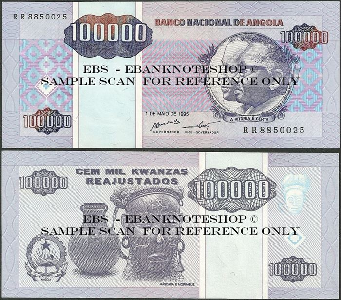 Picture of Angola,P139, B530,100000 Kwanza Reajustados,1995