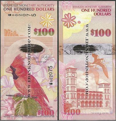 Picture of Bermuda,P62,B235a,100 Dollars,2009,Onion Prefix